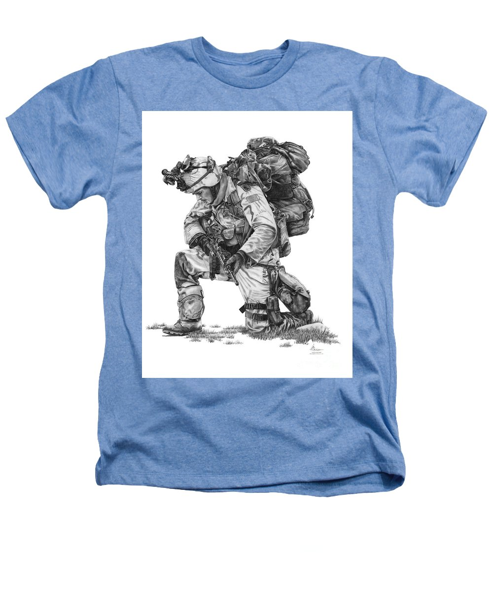 Pencil Heathers T-Shirt featuring the drawing Praying Soldier by Murphy Elliott
