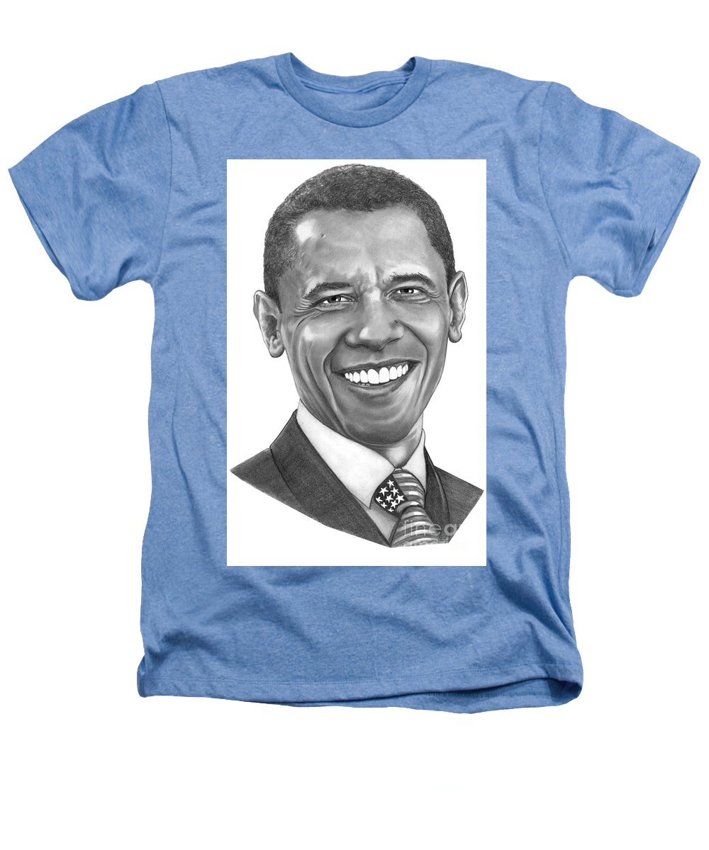 Drawing Heathers T-Shirt featuring the drawing President Barack Obama By Murphy Art. Elliott by Murphy Elliott
