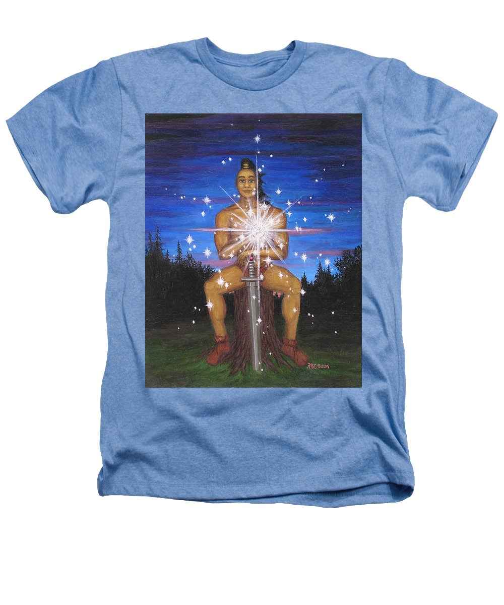 Fantasy Heathers T-Shirt featuring the painting Protector Of The Mystical Forest by Roz Eve