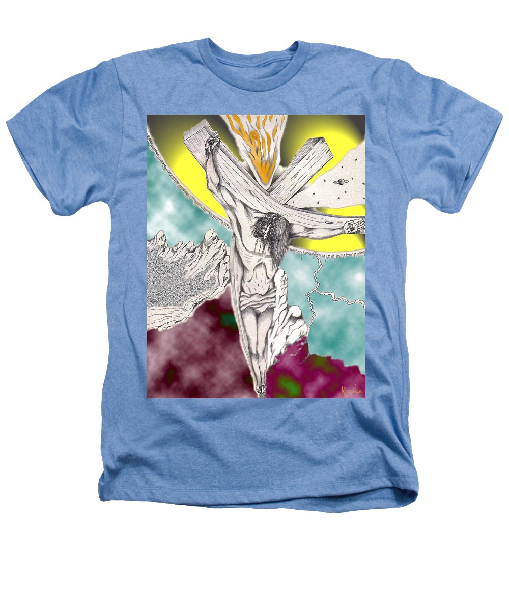 Spiritual Heathers T-Shirt featuring the digital art Psalm 22 Ch 13-15... by Marco Morales