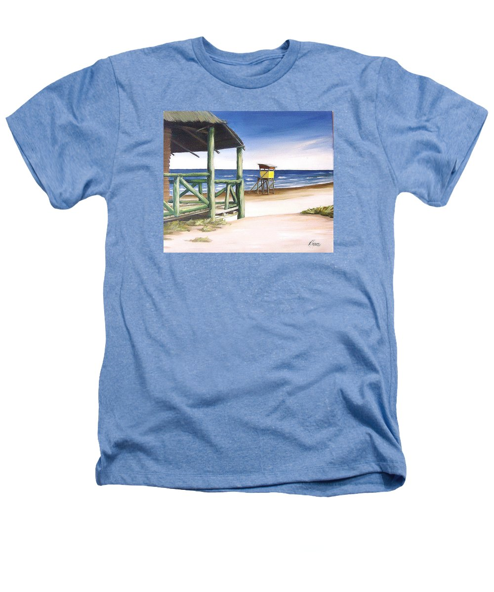 Seascape Beach Landscape Water Ocean Heathers T-Shirt featuring the painting Punta Del Diablo S Morning by Natalia Tejera