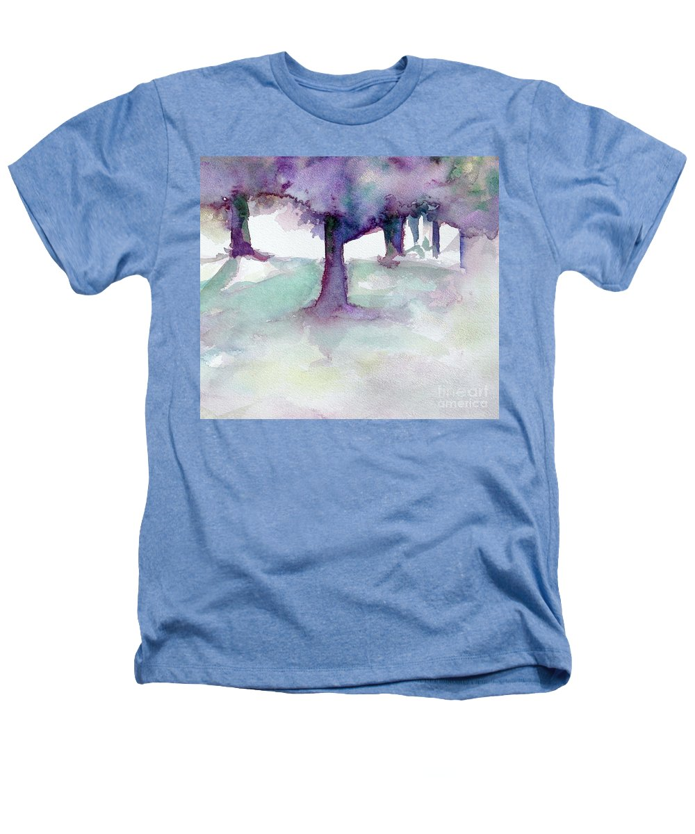 Landscape Heathers T-Shirt featuring the painting Purplescape II by Jan Bennicoff