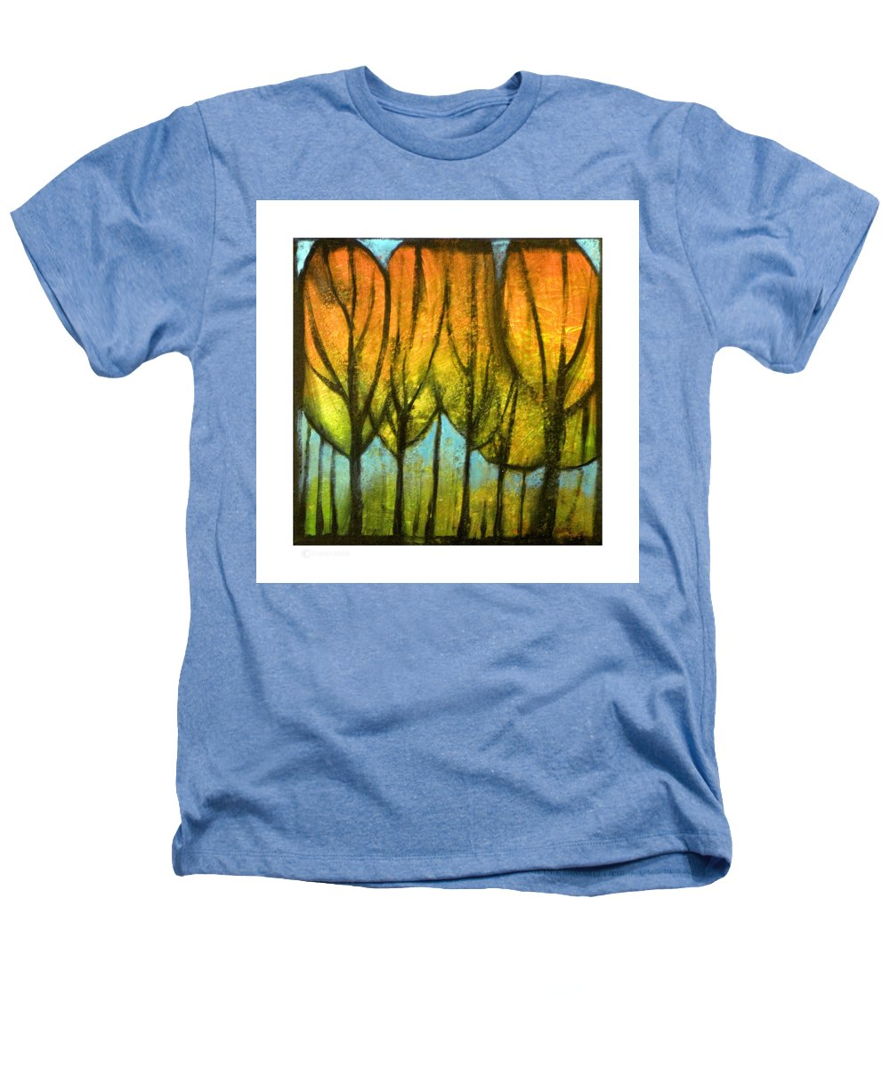 Trees Heathers T-Shirt featuring the painting Quiet Blaze by Tim Nyberg