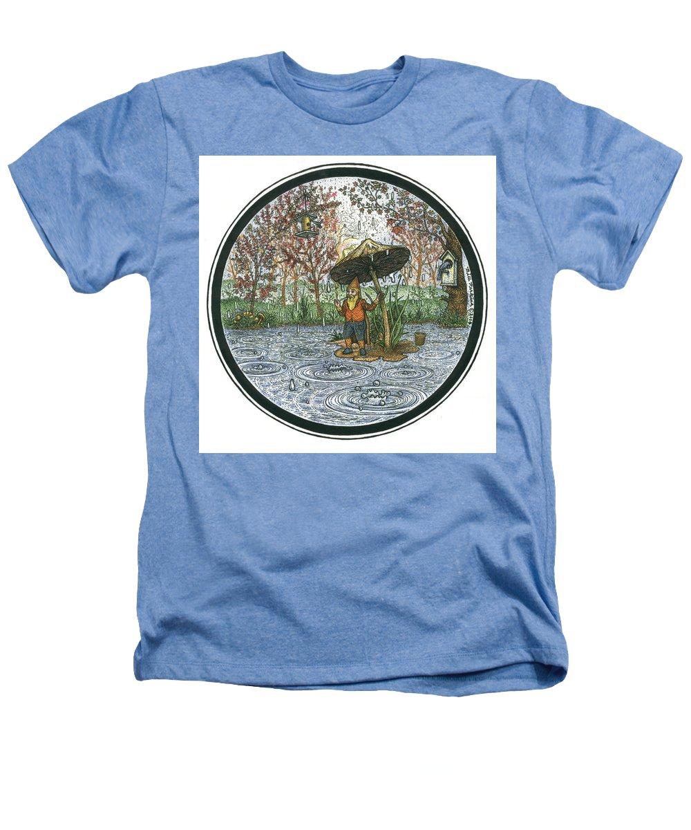 Rain Heathers T-Shirt featuring the drawing Rain Gnome Rain Circle by Bill Perkins