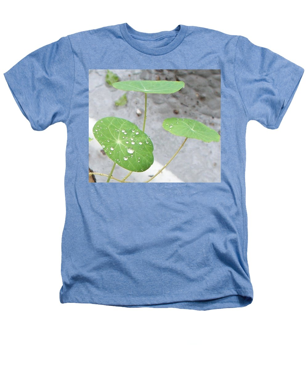 Floral Heathers T-Shirt featuring the painting Raindrops On A Nasturtium Leaf by Eric Schiabor