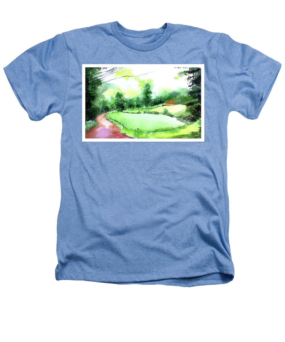 Landscape Heathers T-Shirt featuring the painting Rains In West by Anil Nene