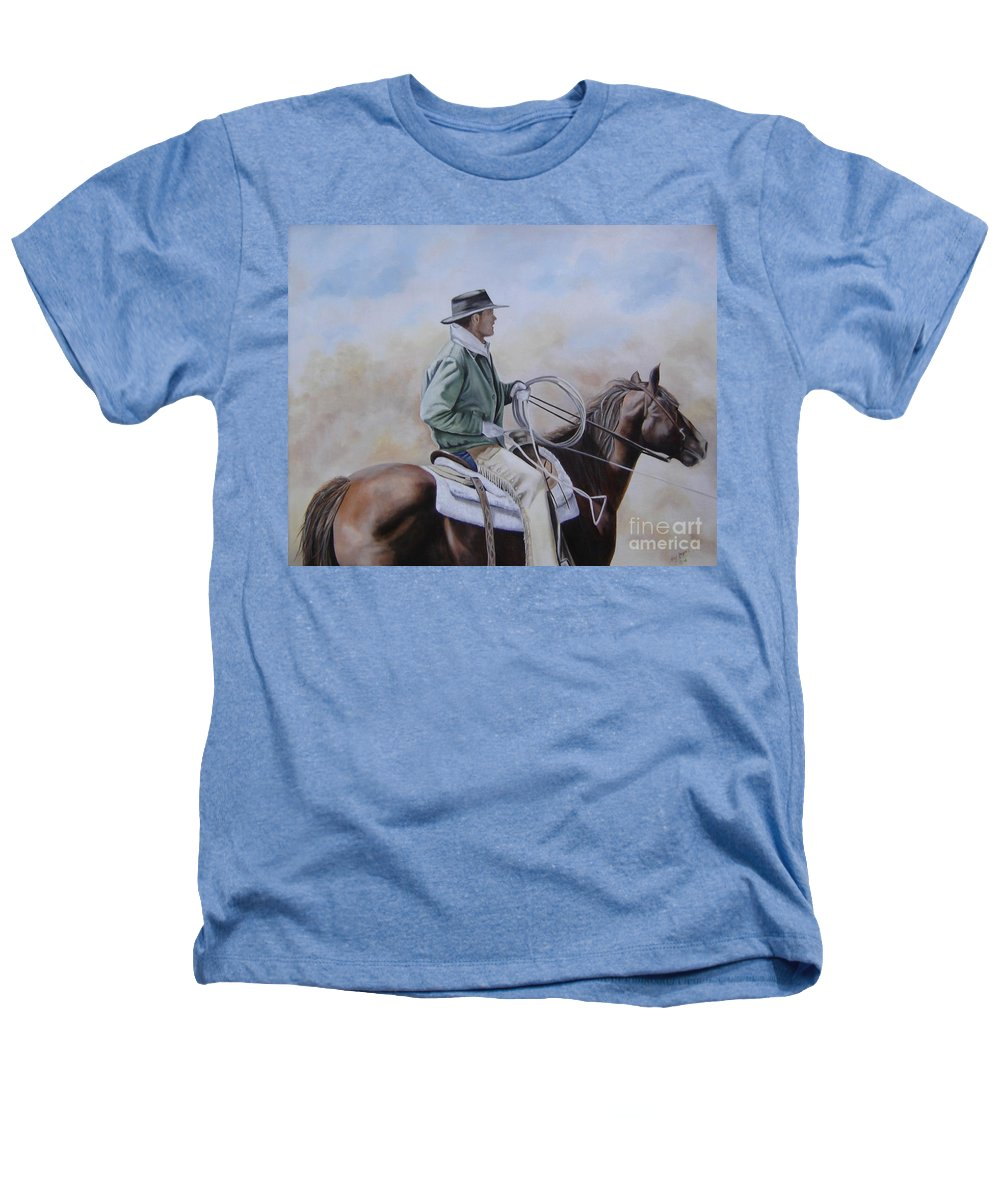 Ranch Heathers T-Shirt featuring the painting Ready To Rope by Mary Rogers
