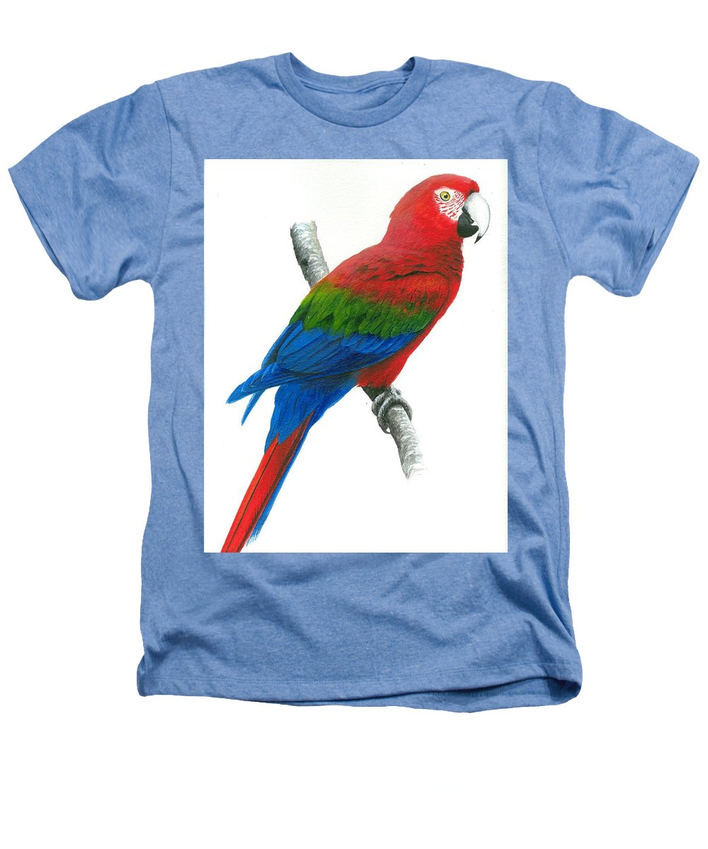 Chris Cox Heathers T-Shirt featuring the painting Red And Green Macaw by Christopher Cox