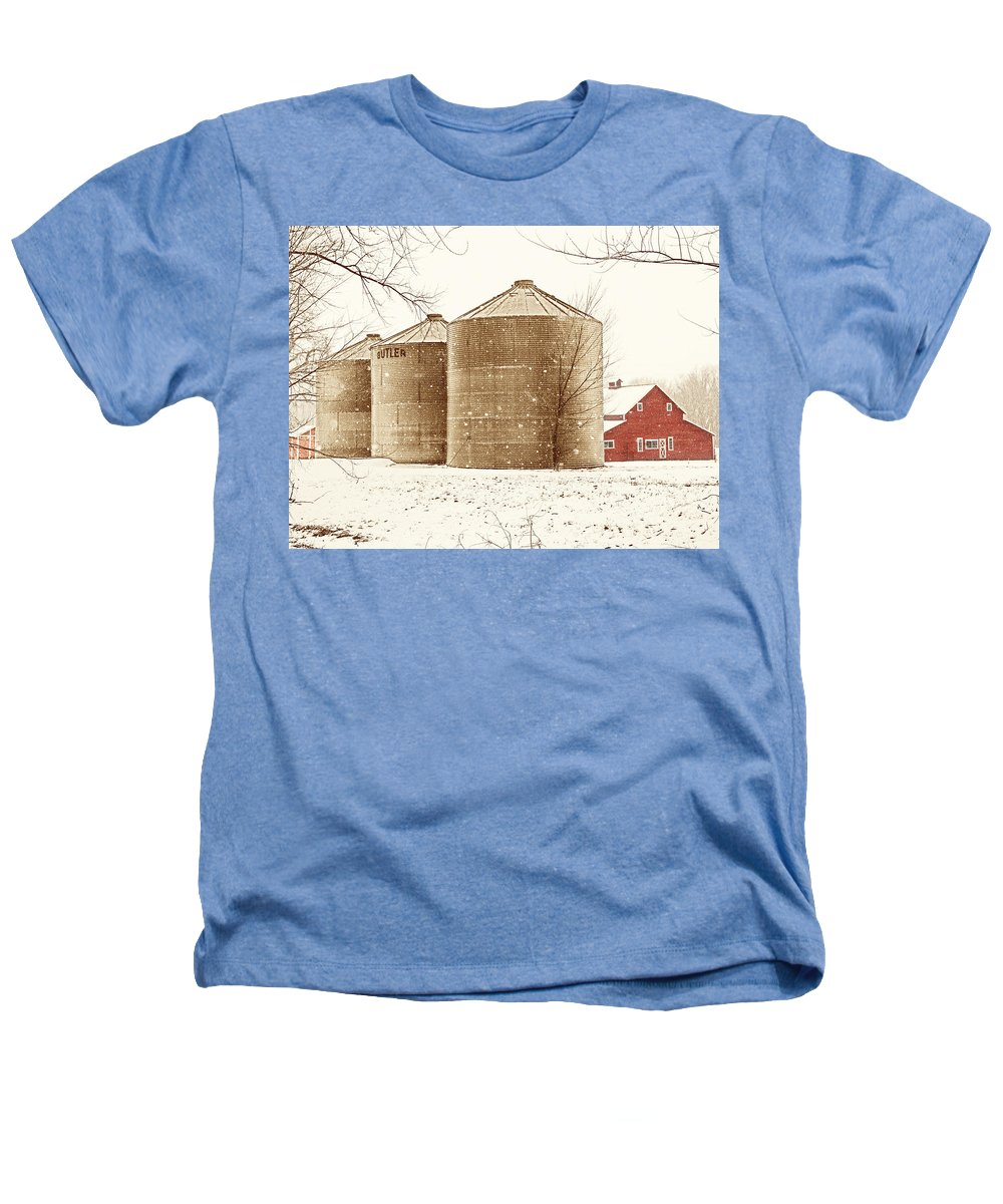 Americana Heathers T-Shirt featuring the photograph Red Barn In Snow by Marilyn Hunt