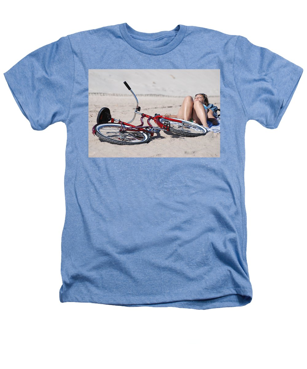 Red Heathers T-Shirt featuring the photograph Red Bike On The Beach by Rob Hans