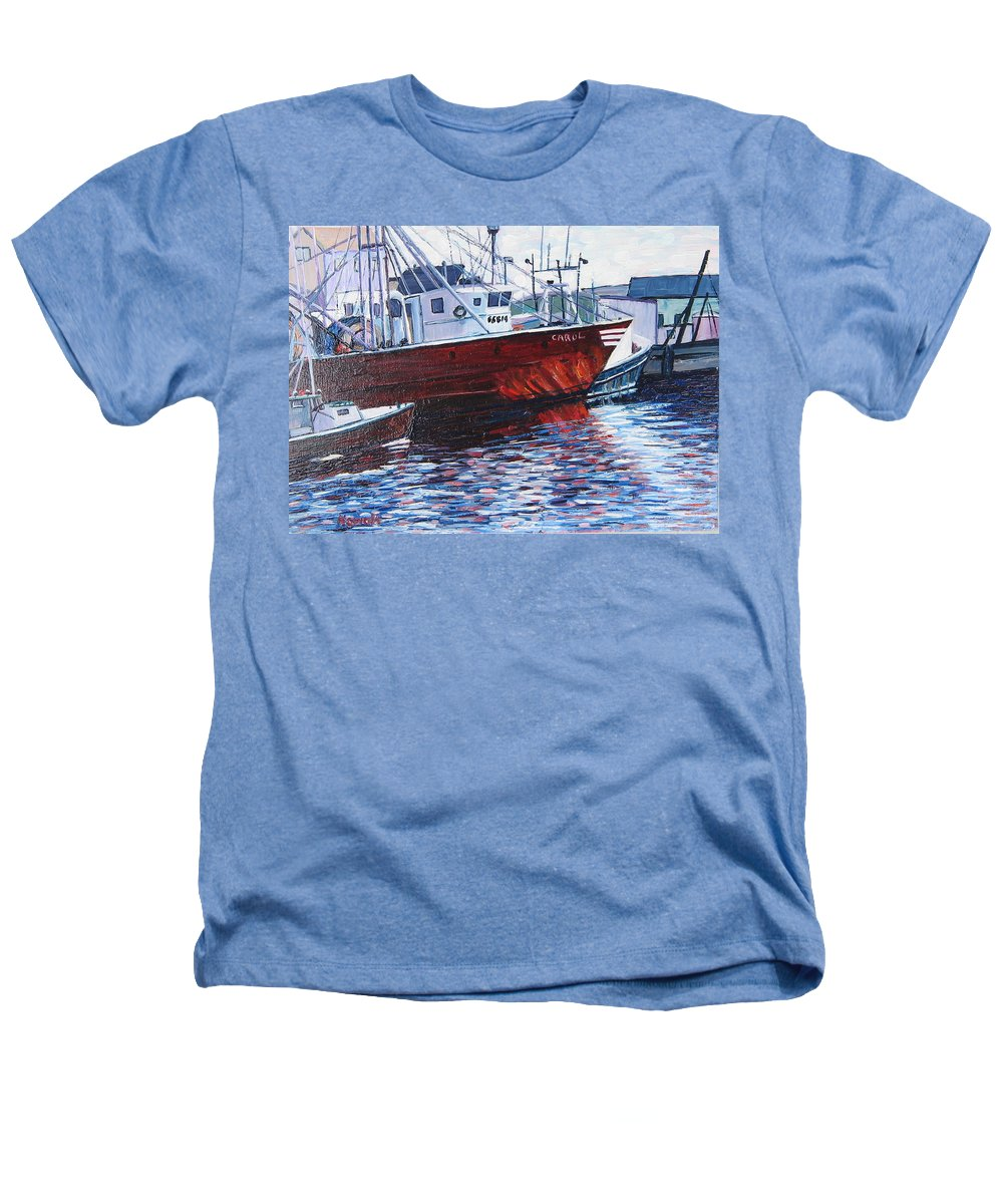 Boats Heathers T-Shirt featuring the painting Red Boats by Richard Nowak