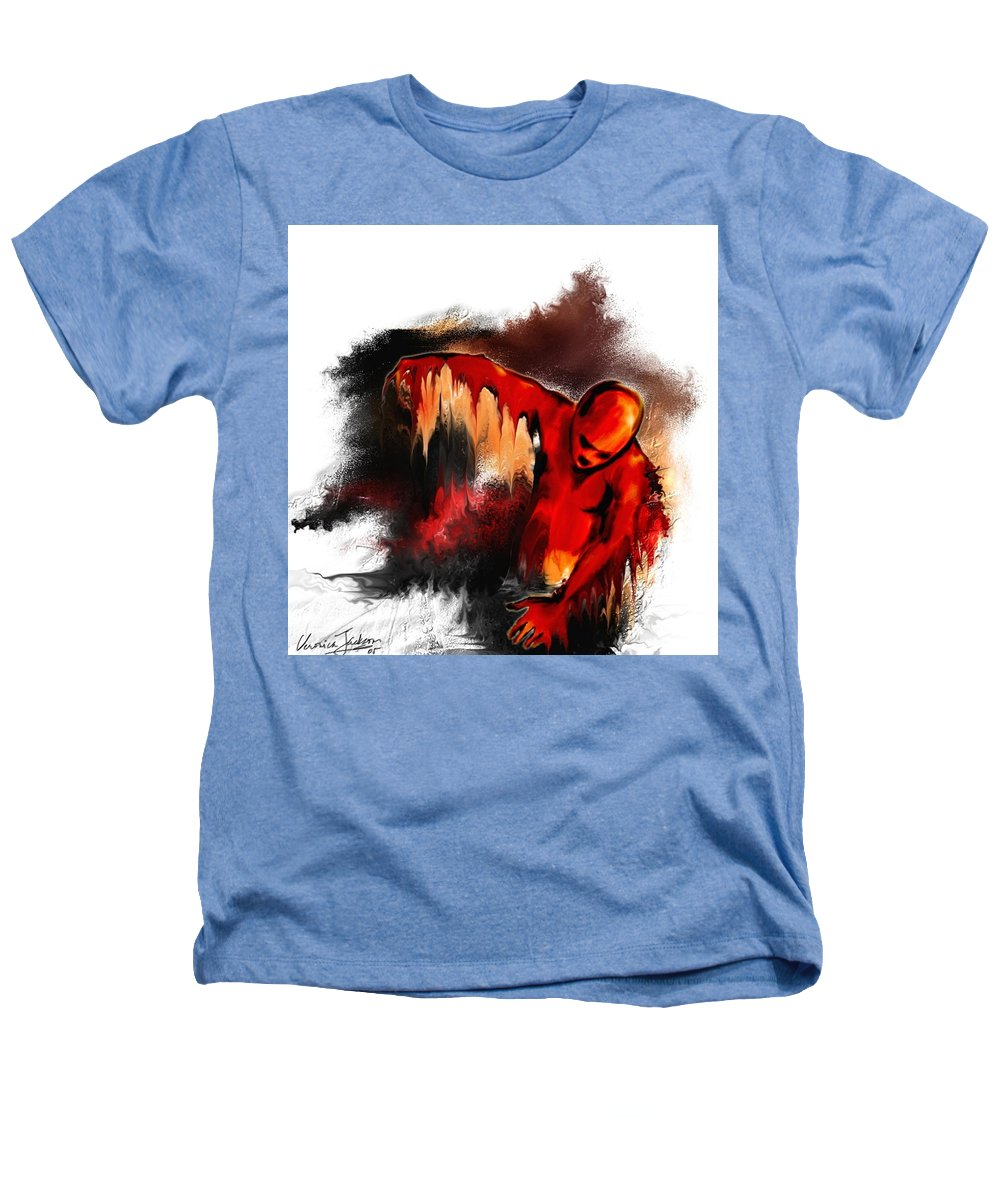 Red Man Passion Sureall Fire Heathers T-Shirt featuring the digital art Red Man by Veronica Jackson