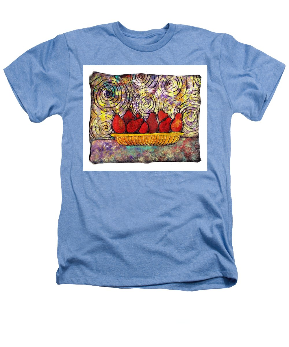 Spirals Heathers T-Shirt featuring the painting Red Pears In A Bowl by Wayne Potrafka