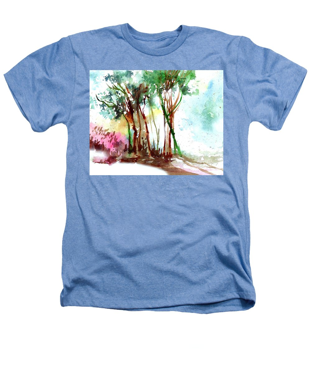 Landscape Heathers T-Shirt featuring the painting Red Trees by Anil Nene