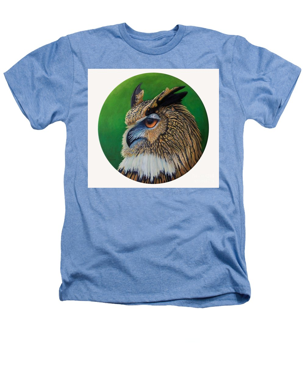 Owl Heathers T-Shirt featuring the painting Regal Gaze by Brian Commerford