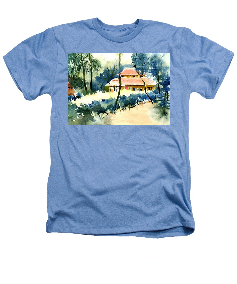 Landscape Heathers T-Shirt featuring the painting Rest House by Anil Nene