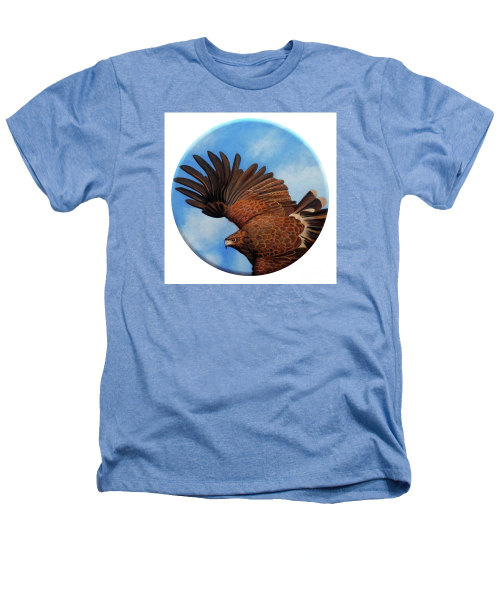 Hawk Heathers T-Shirt featuring the painting Riding The Wind by Brian Commerford