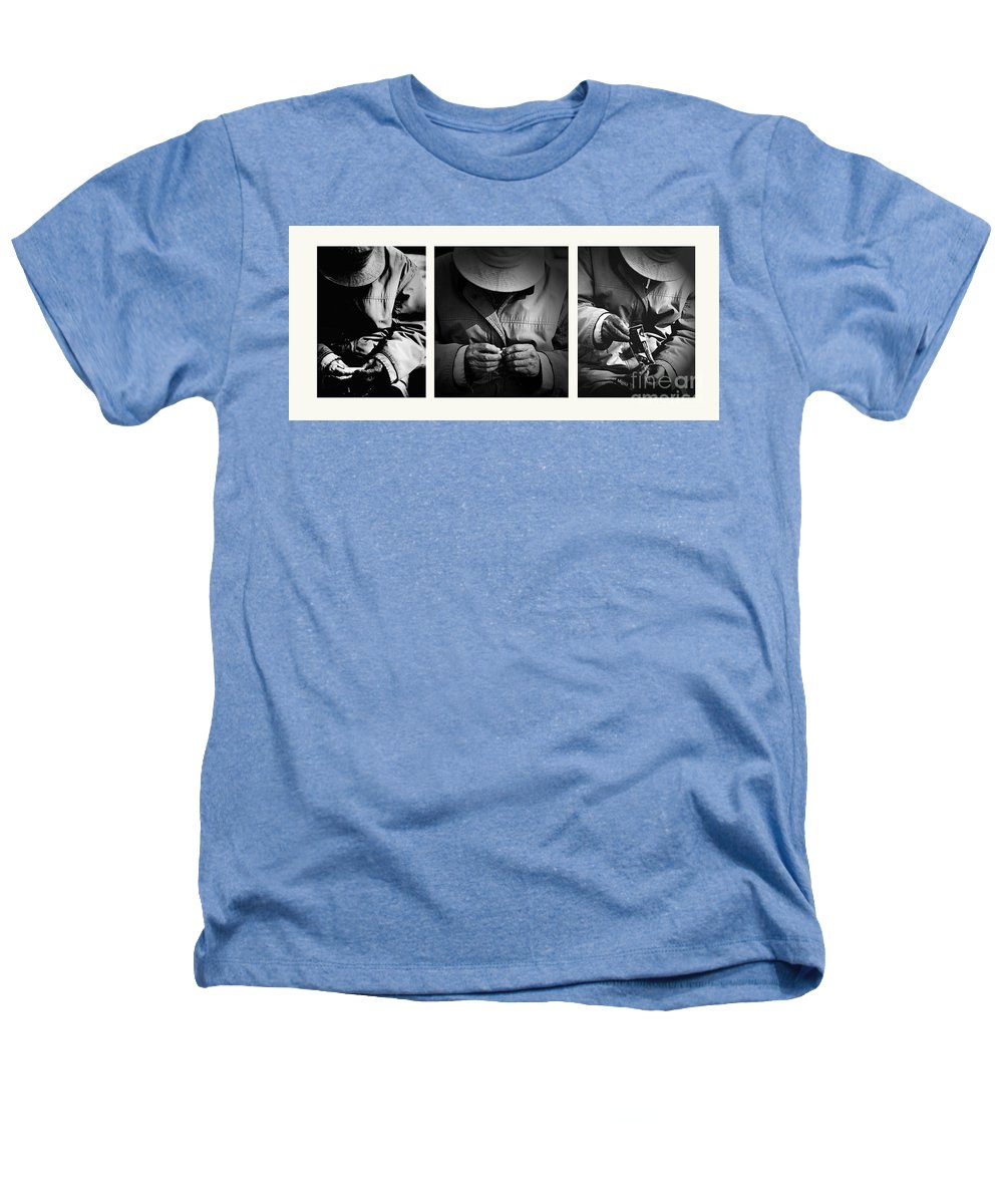 Rollup Rolling Cigarette Smoker Smoking Man Hat Monochrome Heathers T-Shirt featuring the photograph Rolling His Own by Sheila Smart Fine Art Photography