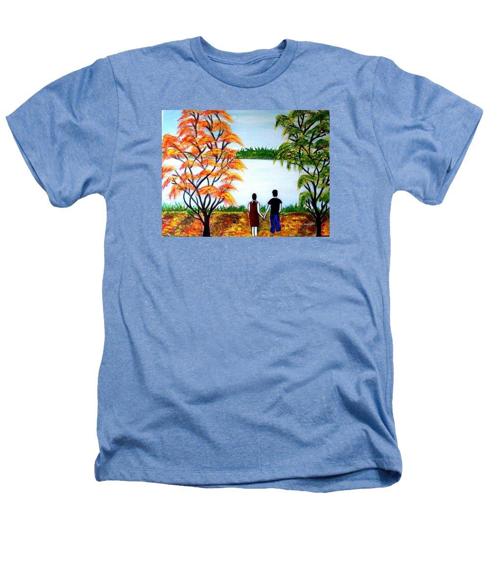 Romance Figures Autumn Orange Trees Green Pop Water Lake Love Valentine Yellow Lake Spring Bloom Heathers T-Shirt featuring the painting Romance In Autumn by Manjiri Kanvinde