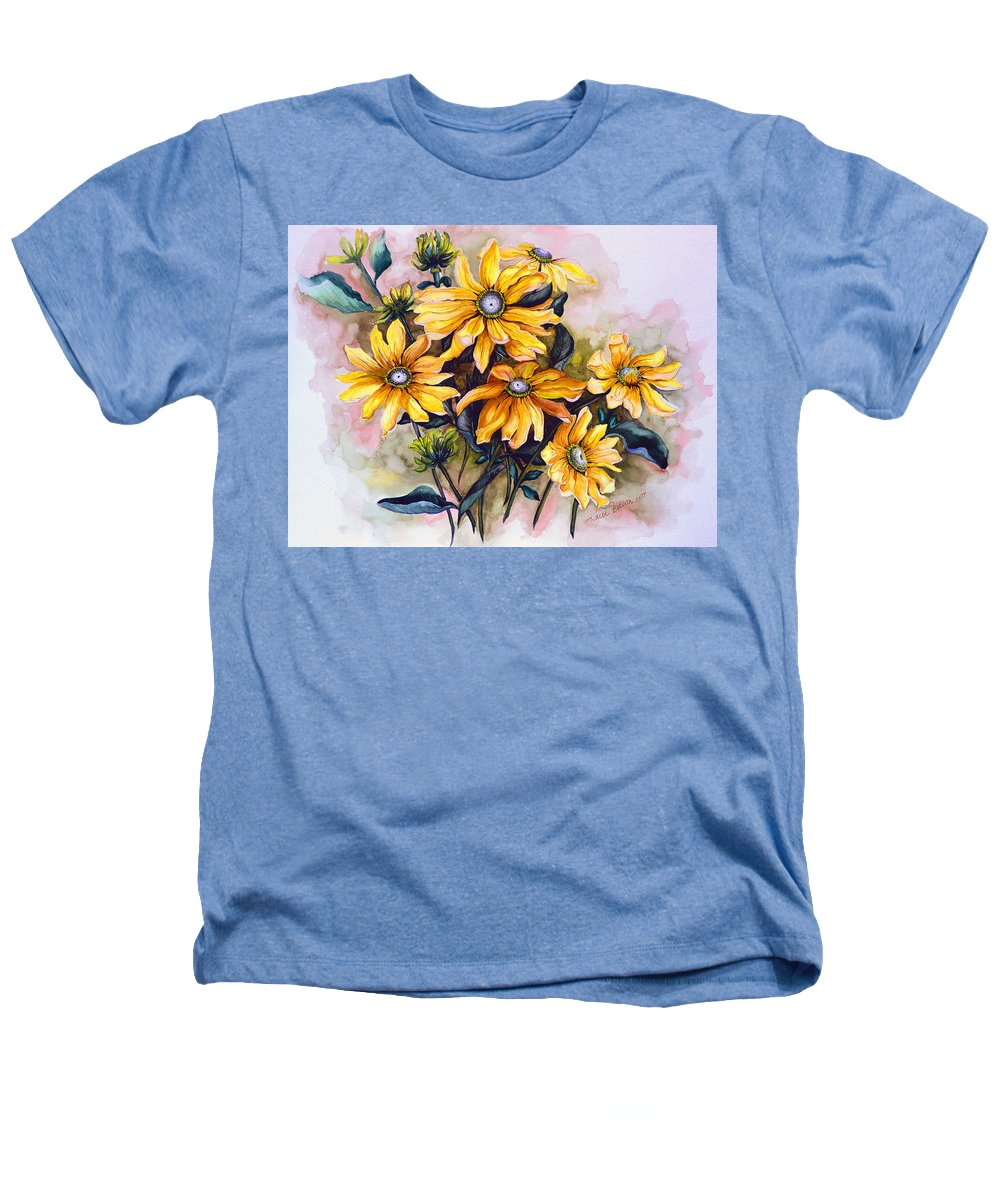 Flower Painting Sun Flower Painting Flower Botanical Painting  Original Watercolor Painting Rudebeckia Painting Floral Painting Yellow Painting Greeting Card Painting Heathers T-Shirt featuring the painting Rudbeckia Prairie Sun by Karin Dawn Kelshall- Best