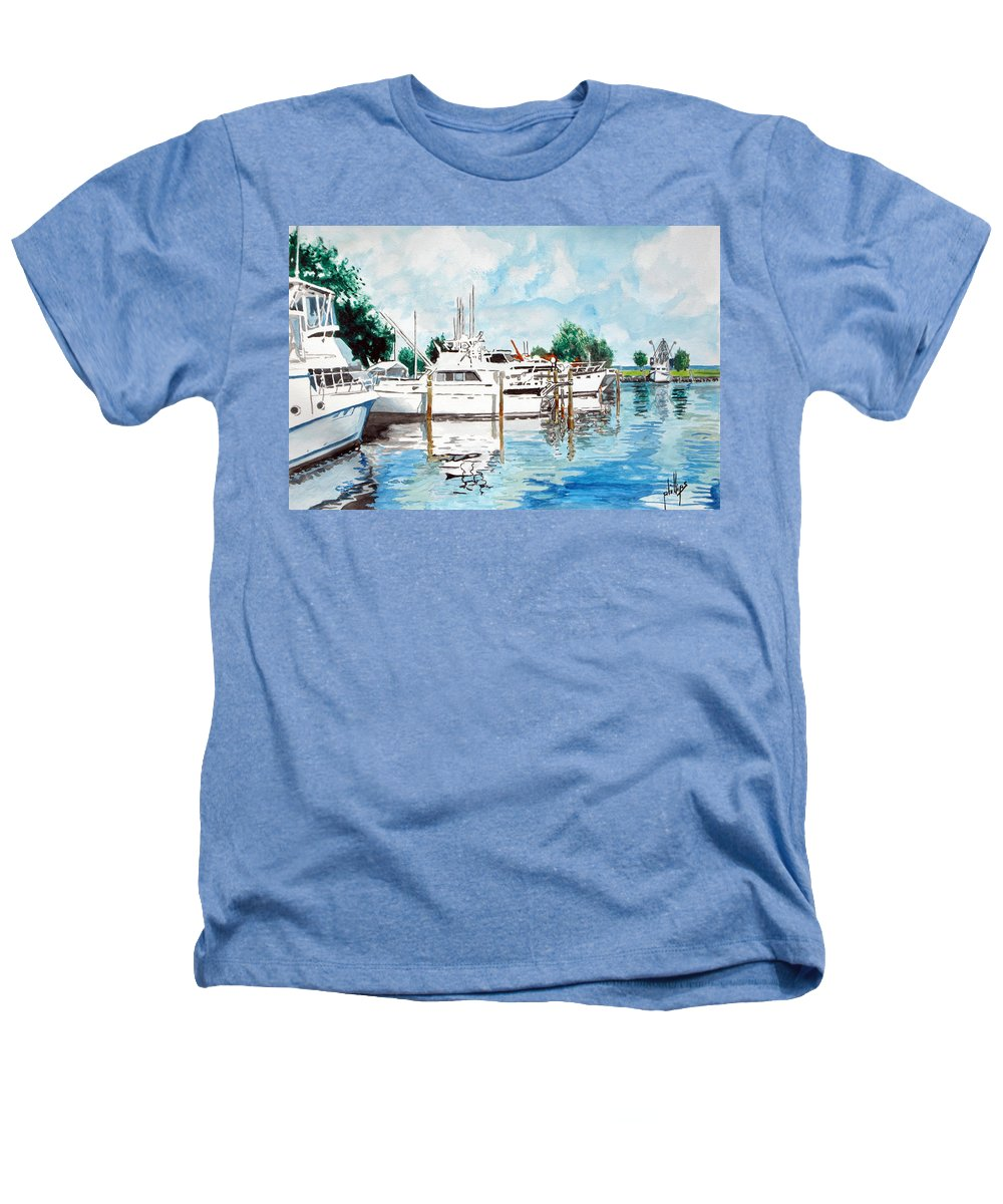 Boats Harbor Coastal Nautical Heathers T-Shirt featuring the painting Safe Harbor by Jim Phillips