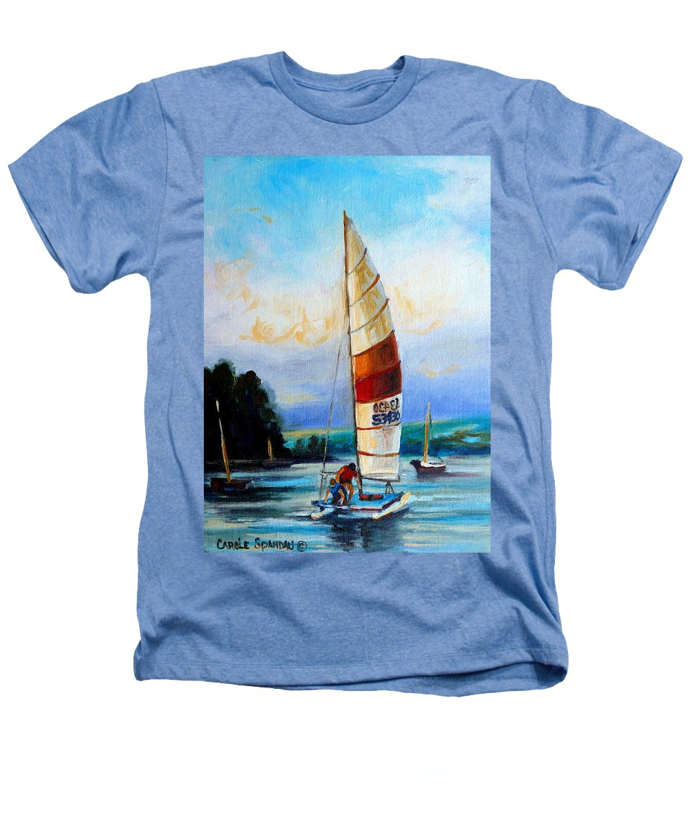 Sail Boats On The Lake Heathers T-Shirt featuring the painting Sail Boats On The Lake by Carole Spandau