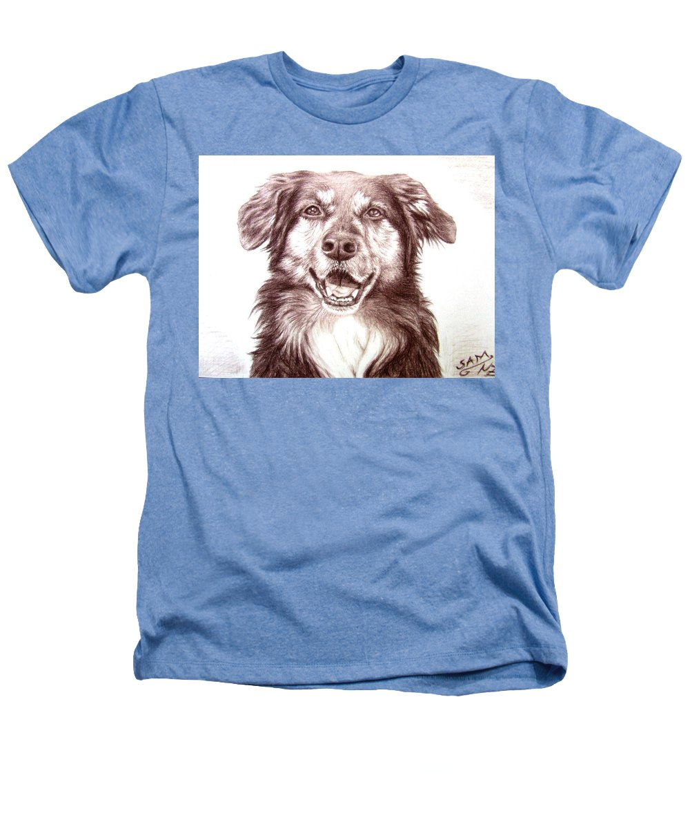 Dog Heathers T-Shirt featuring the drawing Sam by Nicole Zeug