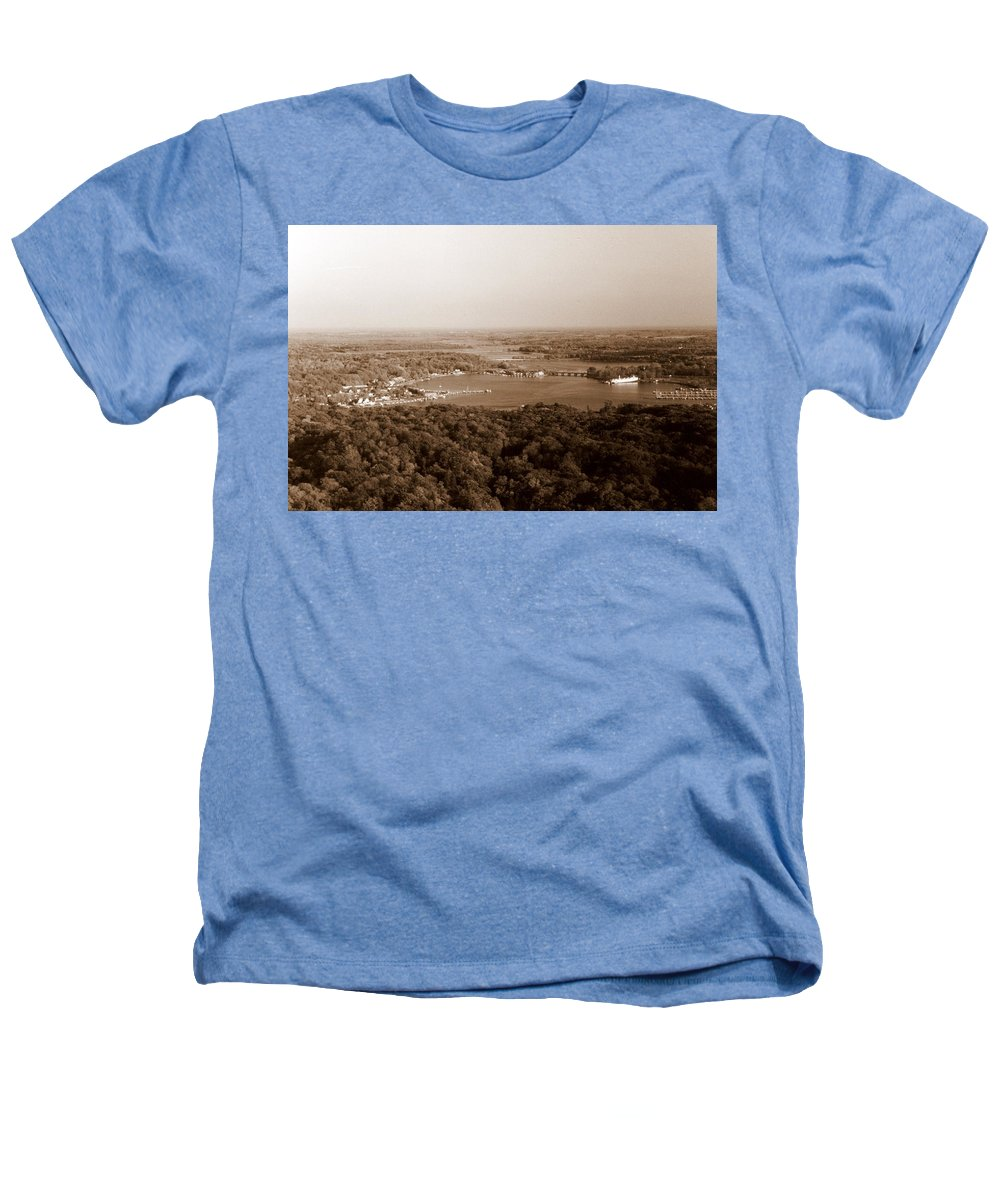 Saugatuck Heathers T-Shirt featuring the photograph Saugatuck Michigan Harbor Aerial Photograph by Michelle Calkins