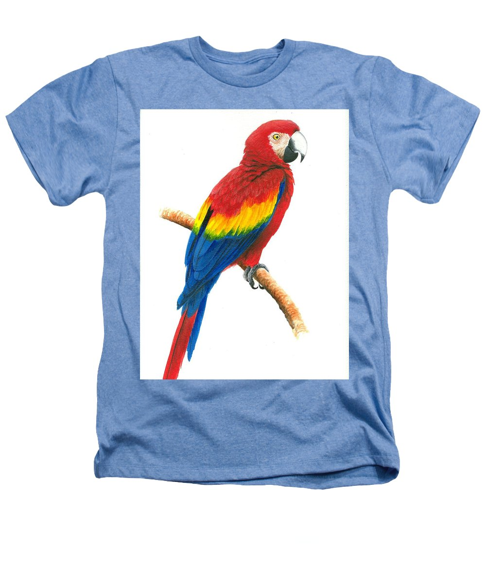 Chris Cox Heathers T-Shirt featuring the painting Scarlet Macaw by Christopher Cox