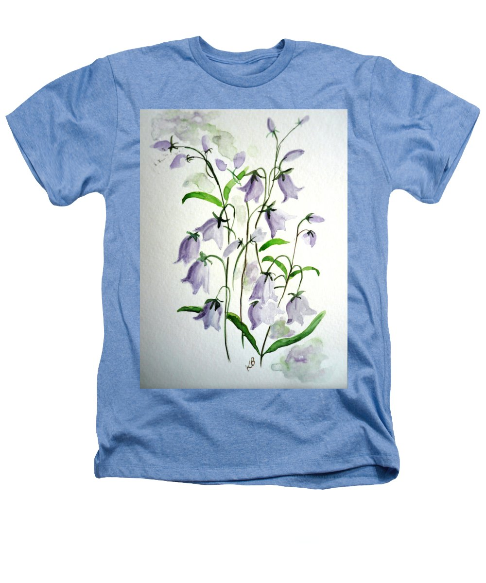 Blue Bells Hare Bells Purple Flower Flora Heathers T-Shirt featuring the painting Scottish Blue Bells by Karin Dawn Kelshall- Best