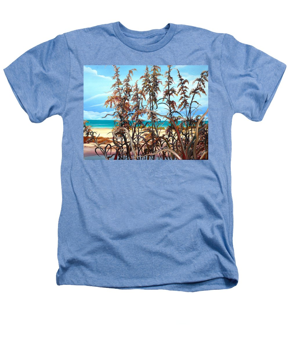 Ocean Painting Sea Oats Painting Beach Painting Seascape Painting Beach Painting Florida Painting Greeting Card Painting Heathers T-Shirt featuring the painting Sea Oats by Karin Dawn Kelshall- Best