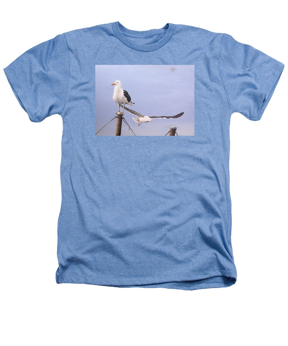 Seascape Gulls Bird Sea Heathers T-Shirt featuring the painting Seagulls by Natalia Tejera