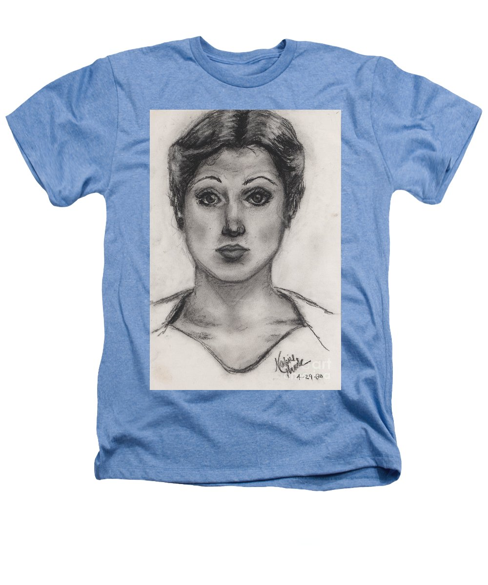 Nadine Heathers T-Shirt featuring the drawing Self Portrait At Age 18 by Nadine Rippelmeyer