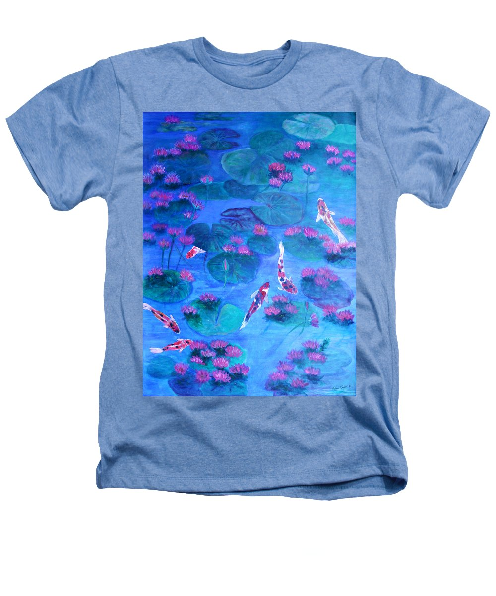 Lily Pads Heathers T-Shirt featuring the painting Serene Pond by Ben Kiger