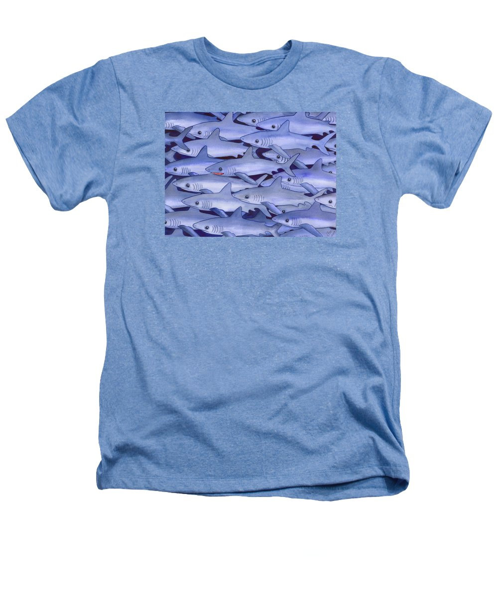 Shark Heathers T-Shirt featuring the painting Sharks by Catherine G McElroy