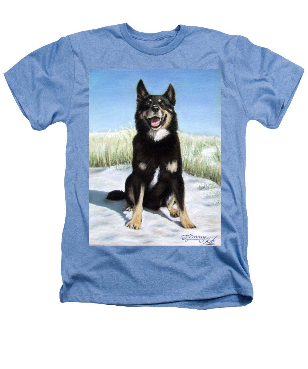 Dog Heathers T-Shirt featuring the pastel Shepherd Mix Timmy by Nicole Zeug
