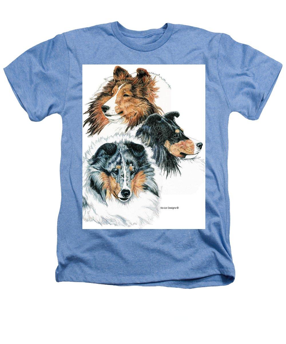 Shetland Sheepdog Heathers T-Shirt featuring the drawing Shetland Sheepdogs by Kathleen Sepulveda