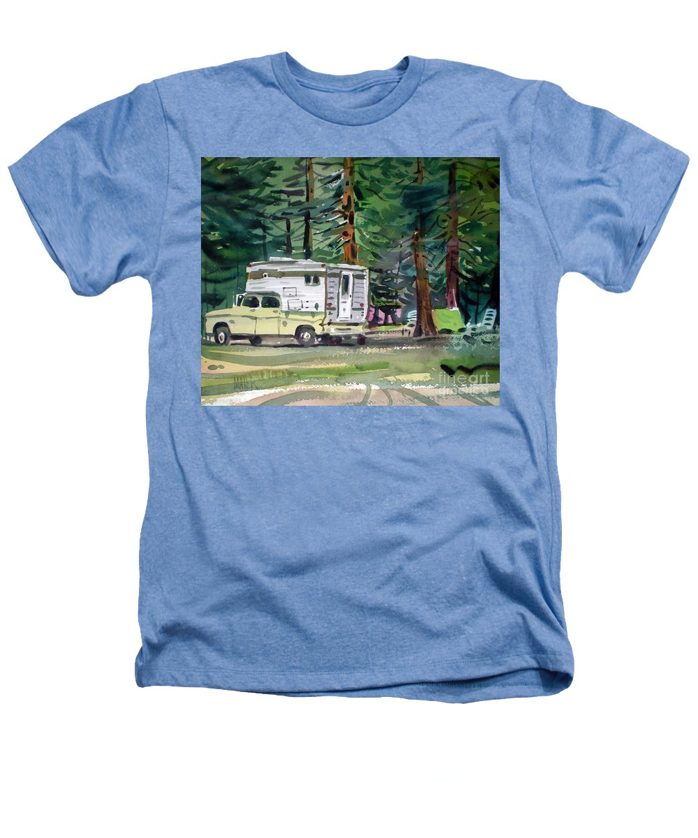 Camping Heathers T-Shirt featuring the painting Sierra Campsite by Donald Maier