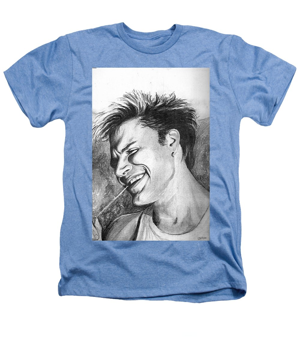 Simon Man Face Portrait Young Fresh Smile Heathers T-Shirt featuring the drawing Simon by Veronica Jackson