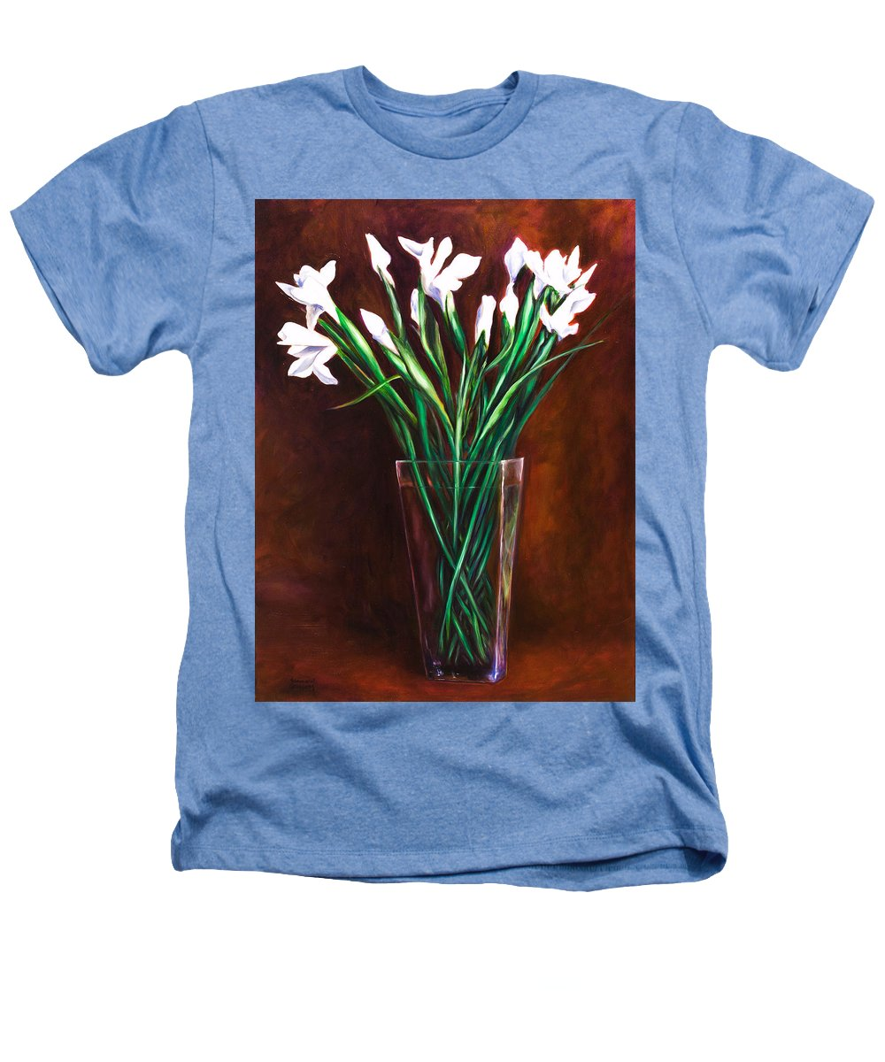 Iris Heathers T-Shirt featuring the painting Simply Iris by Shannon Grissom
