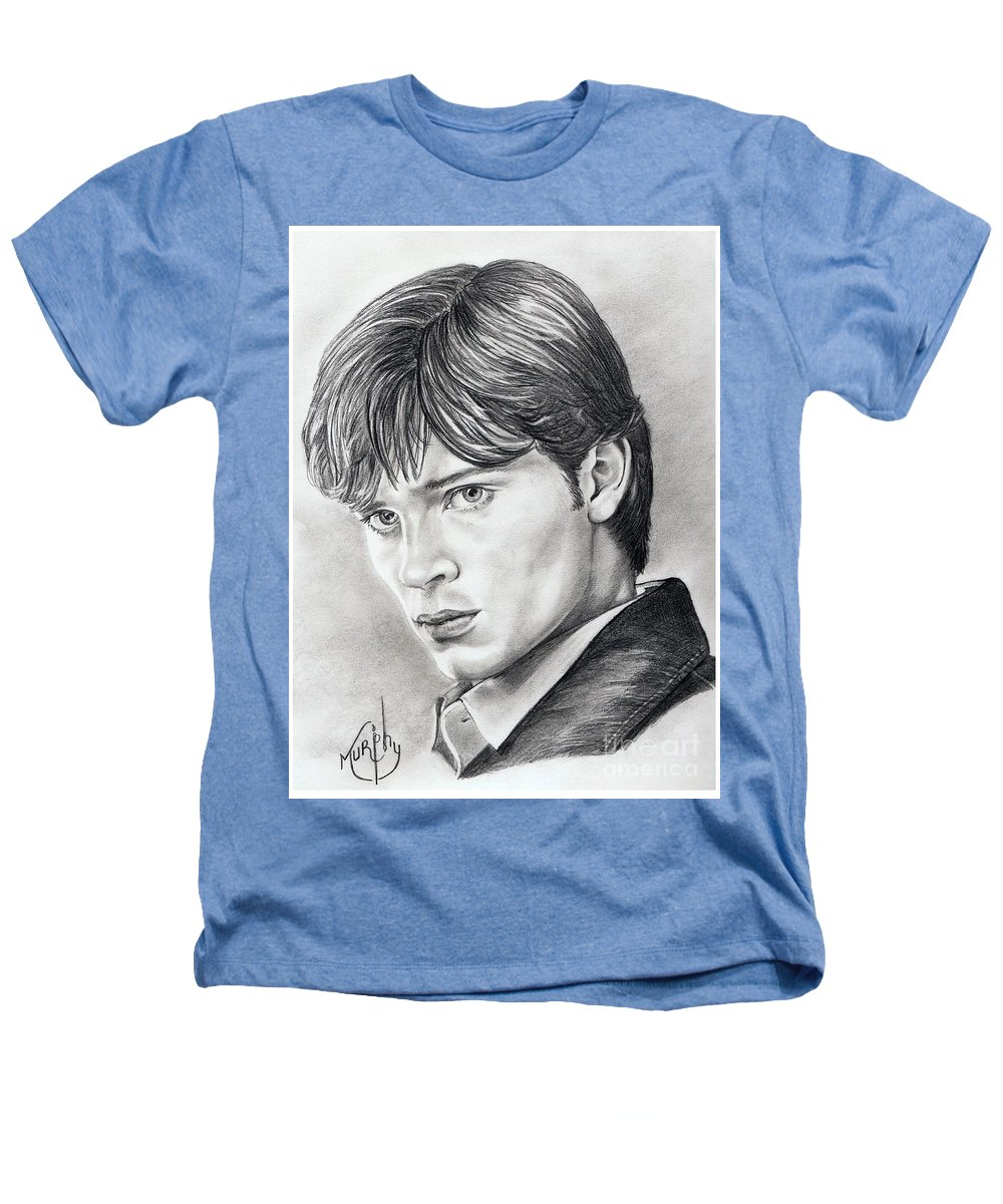 Superman Heathers T-Shirt featuring the drawing Smallville Tom Welling by Murphy Elliott
