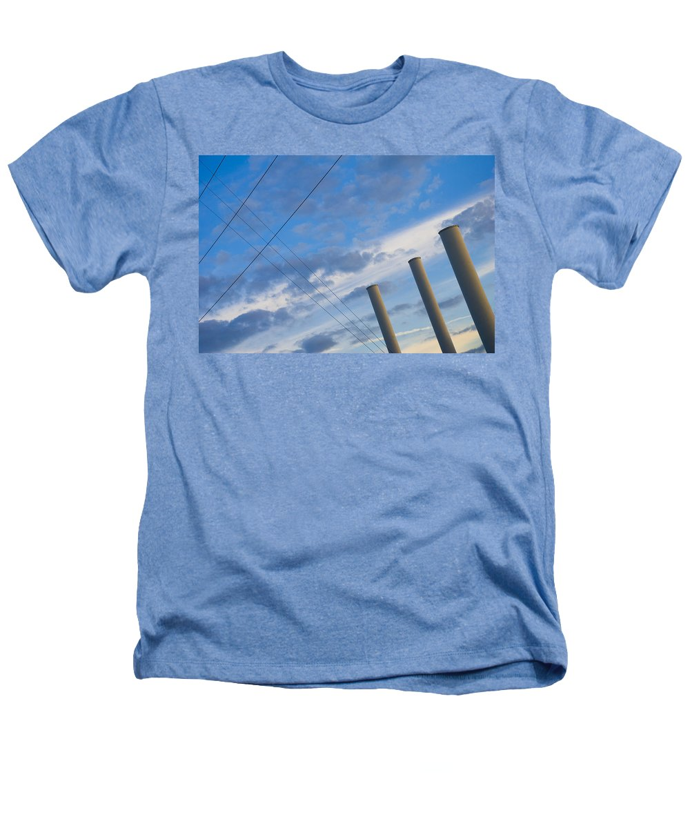 Blue Heathers T-Shirt featuring the photograph Smoke Stax by Skip Hunt
