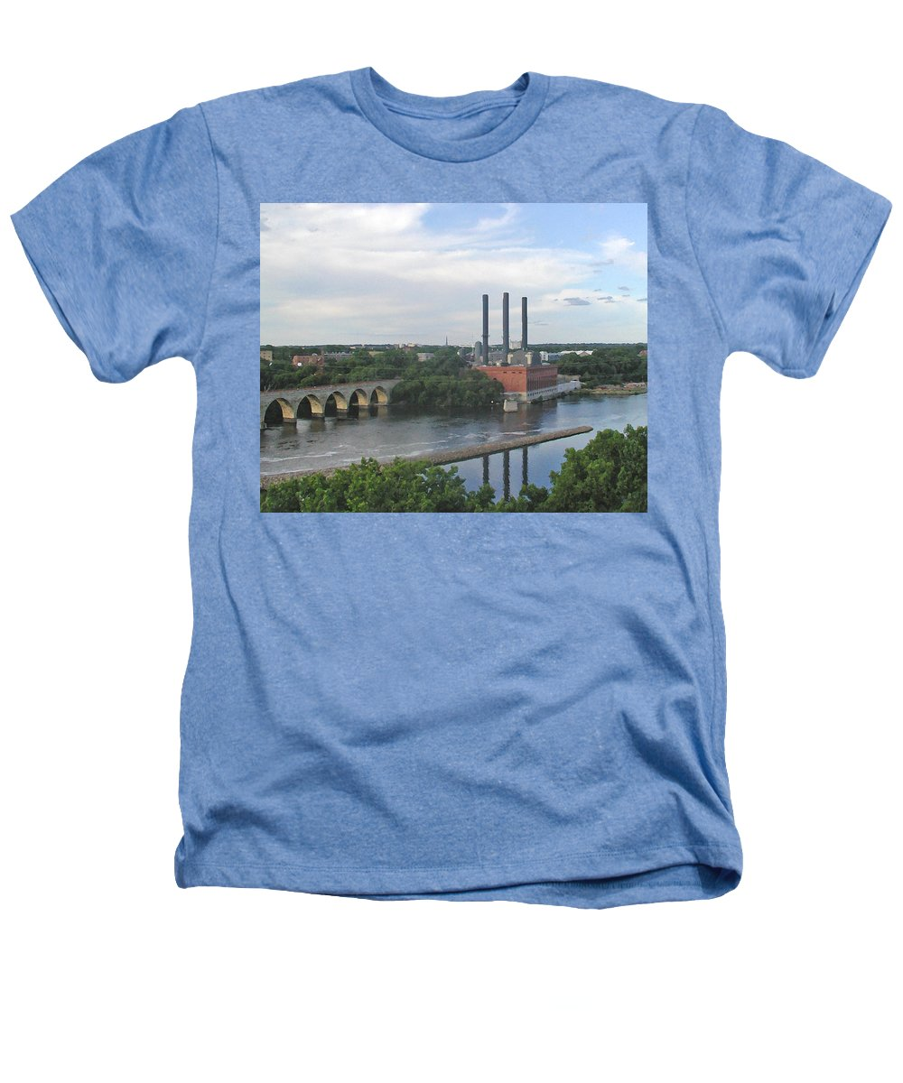 Minneapolis Heathers T-Shirt featuring the photograph Smokestacks On The Mississippi by Tom Reynen