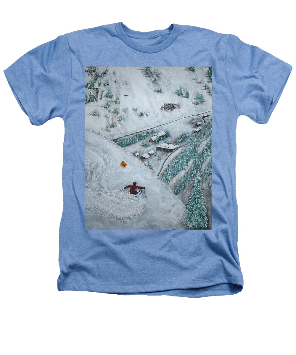 Ski Heathers T-Shirt featuring the painting Snowbird Steeps by Michael Cuozzo