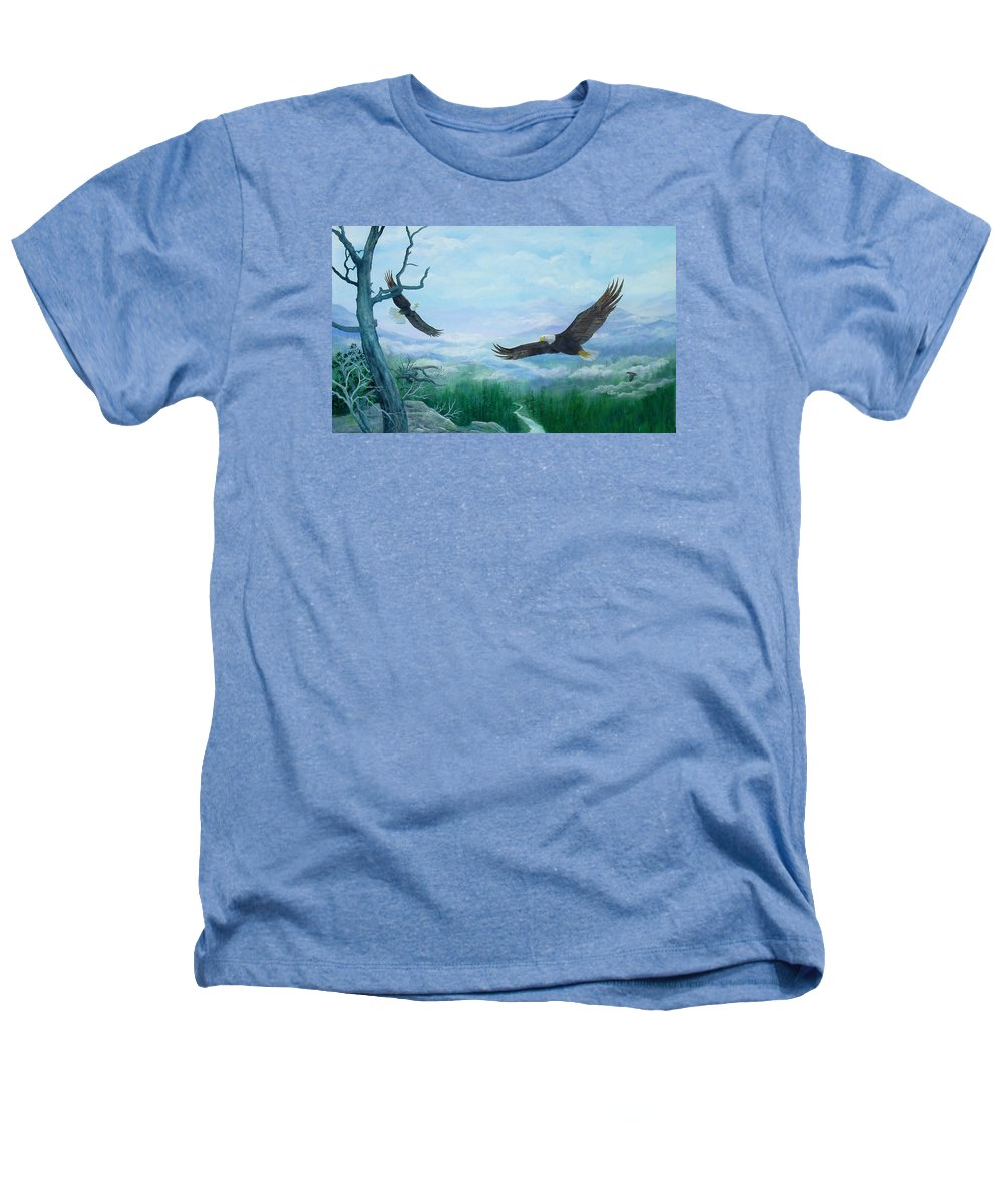 Eagles;birds;river Valley;mountains;sky; Heathers T-Shirt featuring the painting Soaring by Lois Mountz