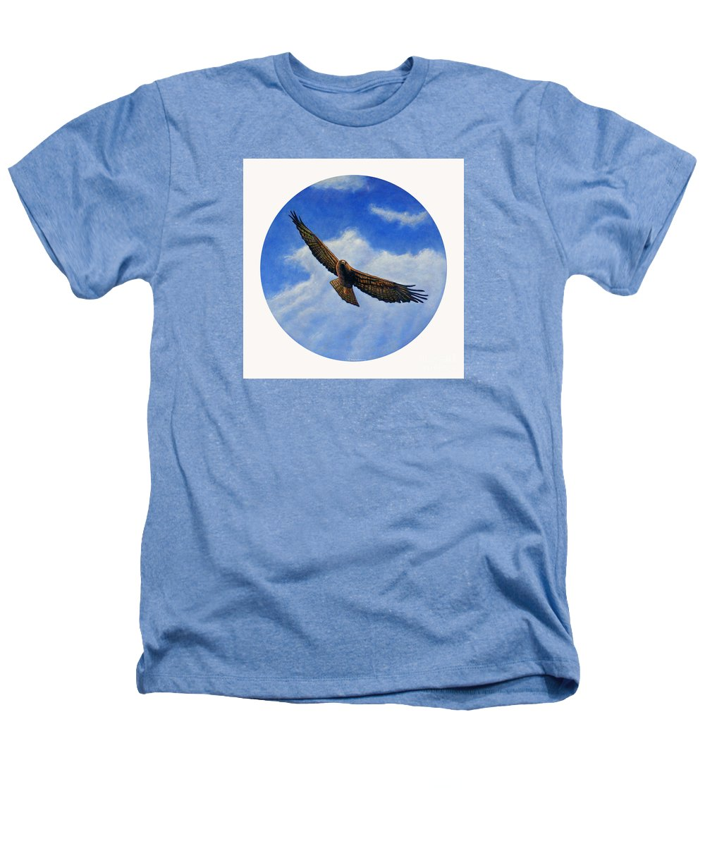Hawk Heathers T-Shirt featuring the painting Spirit In The Wind by Brian Commerford