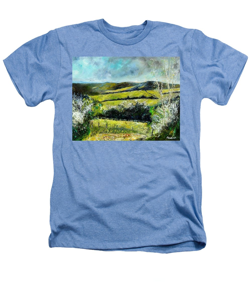 Landscape Heathers T-Shirt featuring the print Spring 79 by Pol Ledent