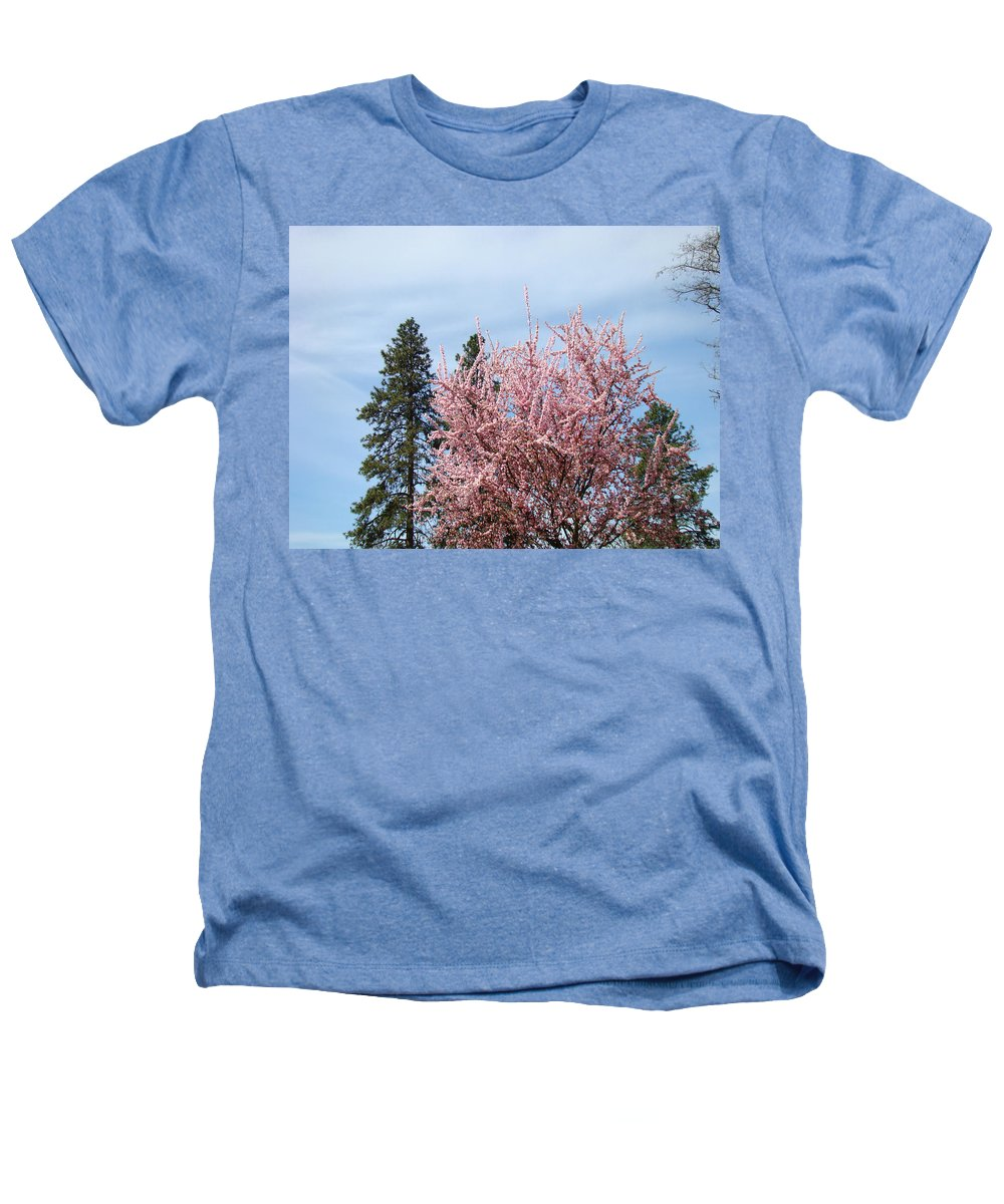 Trees Heathers T-Shirt featuring the photograph Spring Trees Bossoming Landscape Art Prints Pink Blossoms Clouds Sky by Baslee Troutman
