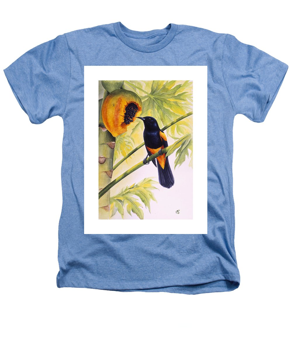 Chris Cox Heathers T-Shirt featuring the painting St. Lucia Oriole And Papaya by Christopher Cox