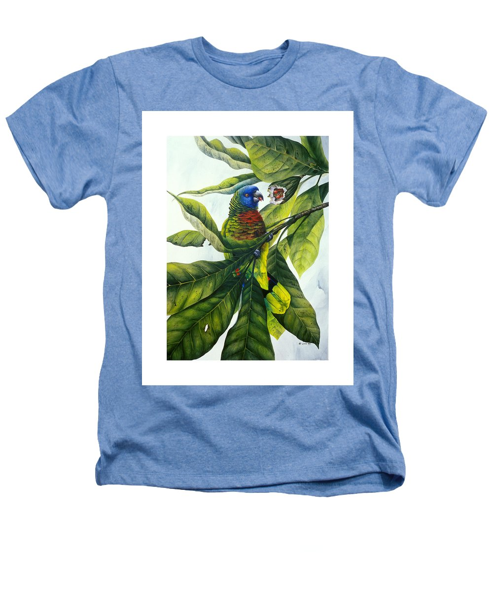 Chris Cox Heathers T-Shirt featuring the painting St. Lucia Parrot And Fruit by Christopher Cox